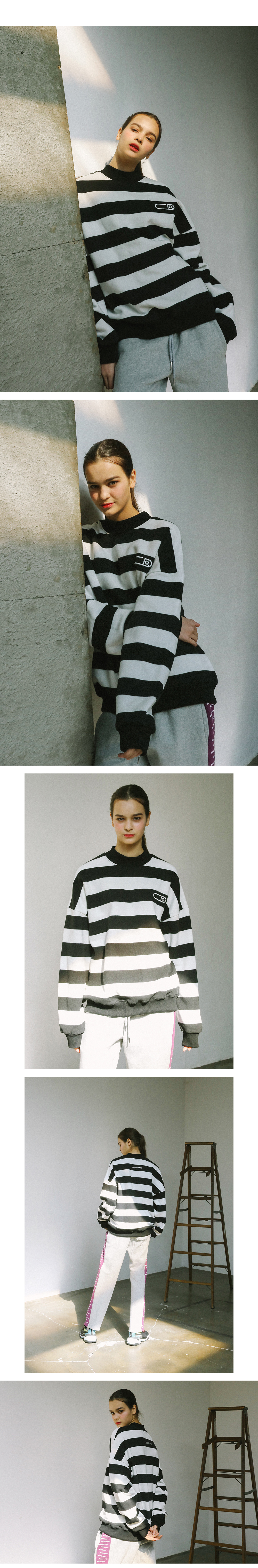 써치410 UNISEX STRIPE LOGO TURTLE-NECK_BLACK