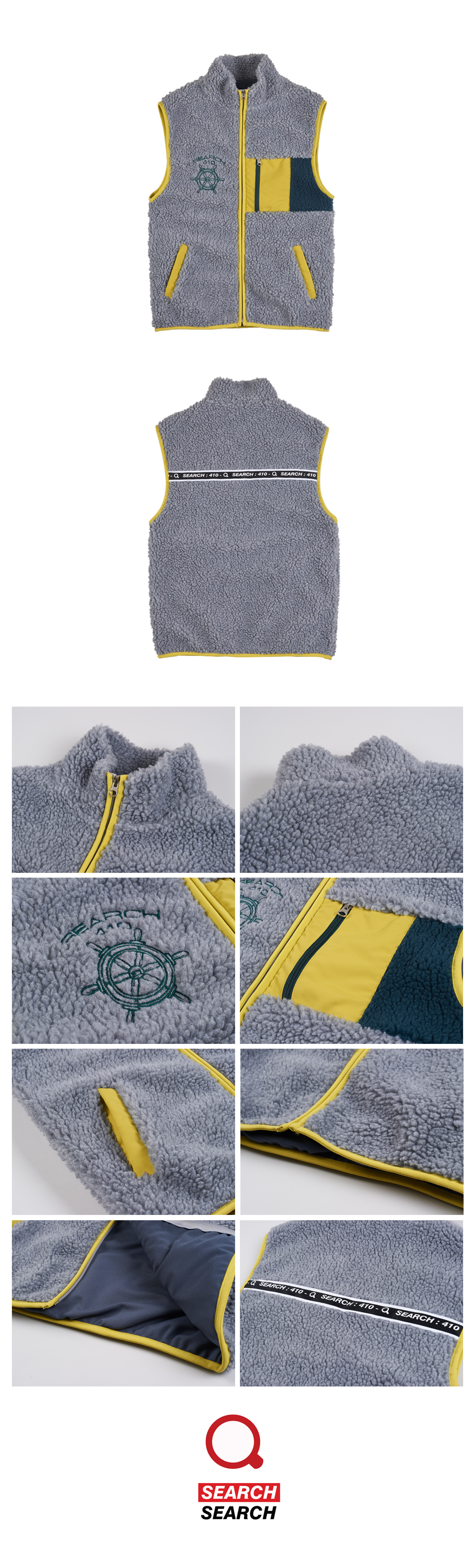 TAPE DUMBLE VEST FULL ZIP_GRAY