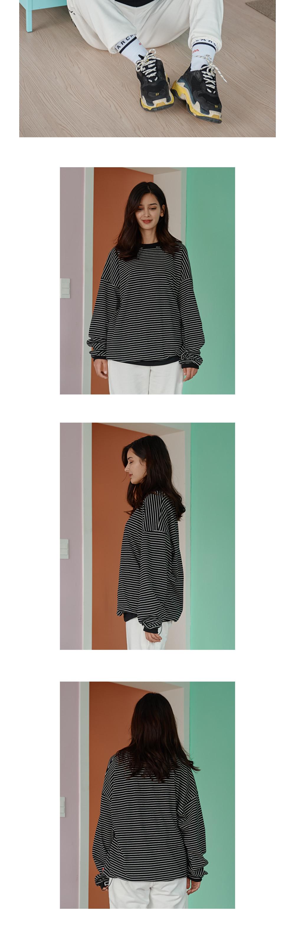 [UNISEX] STRIPE LONG SLEEVE T_BLACK